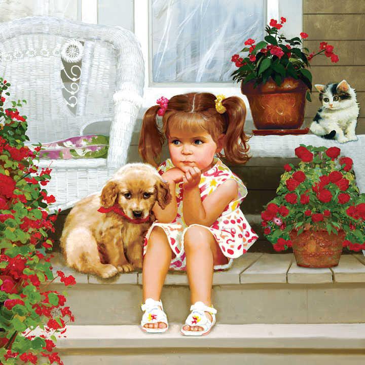 5D DIY Алмазная картина Алмазная мозаика мальчик и картинки собаки украшения семьи украшения ручной работы подарок декоративная живопись