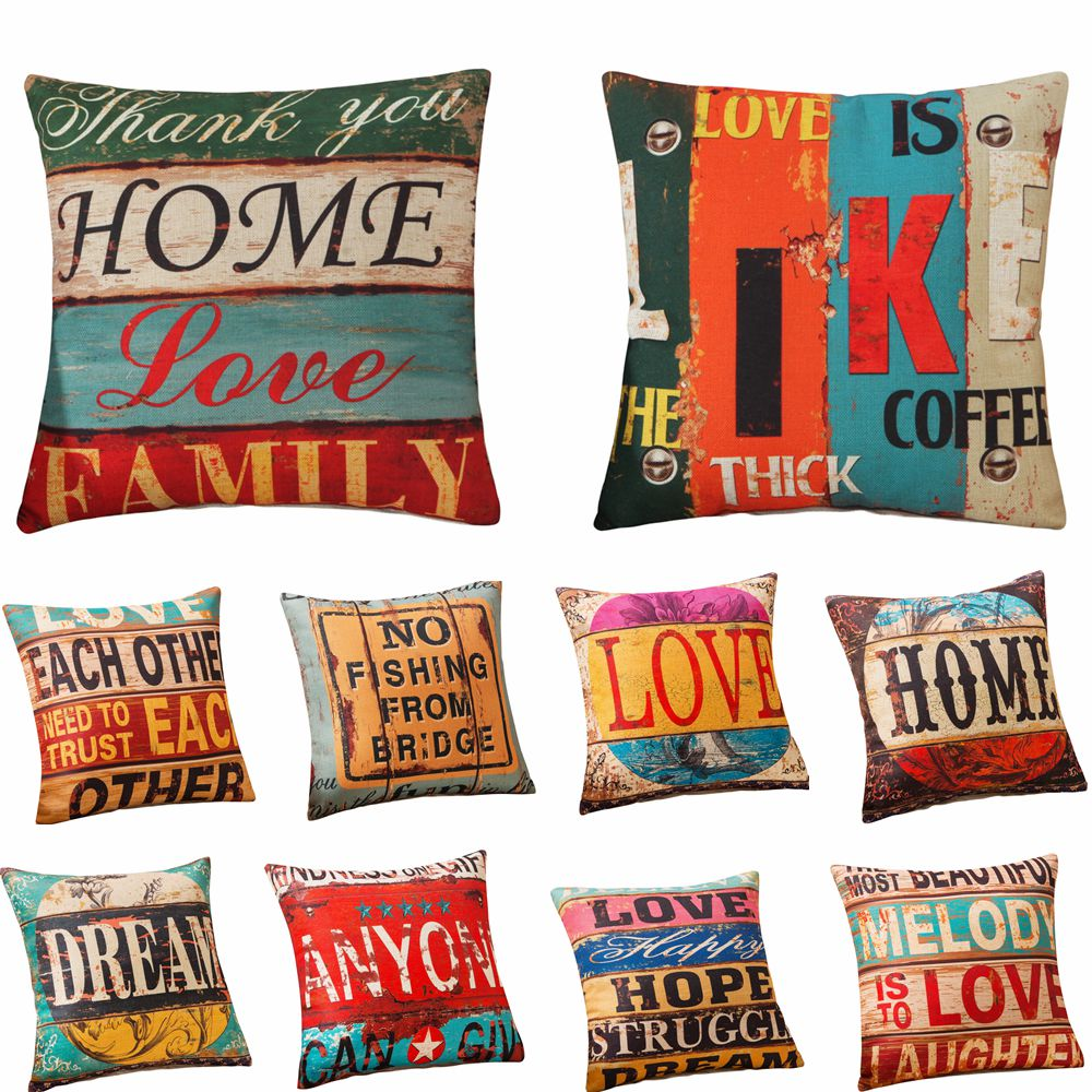 RUBYLOVE 18 Vintage Style Letter Cotton Linen Square Pillow Cover Home Decorative Sofa Cushion Throw Pillowcases