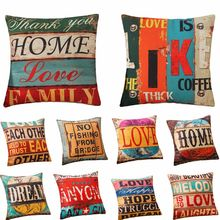 """RUBYLOVE 18"""" Vintage Style Letter Cotton Linen Square Pillow Cover Home Decorative Sofa Cushion Cover Throw Pillowcases"""