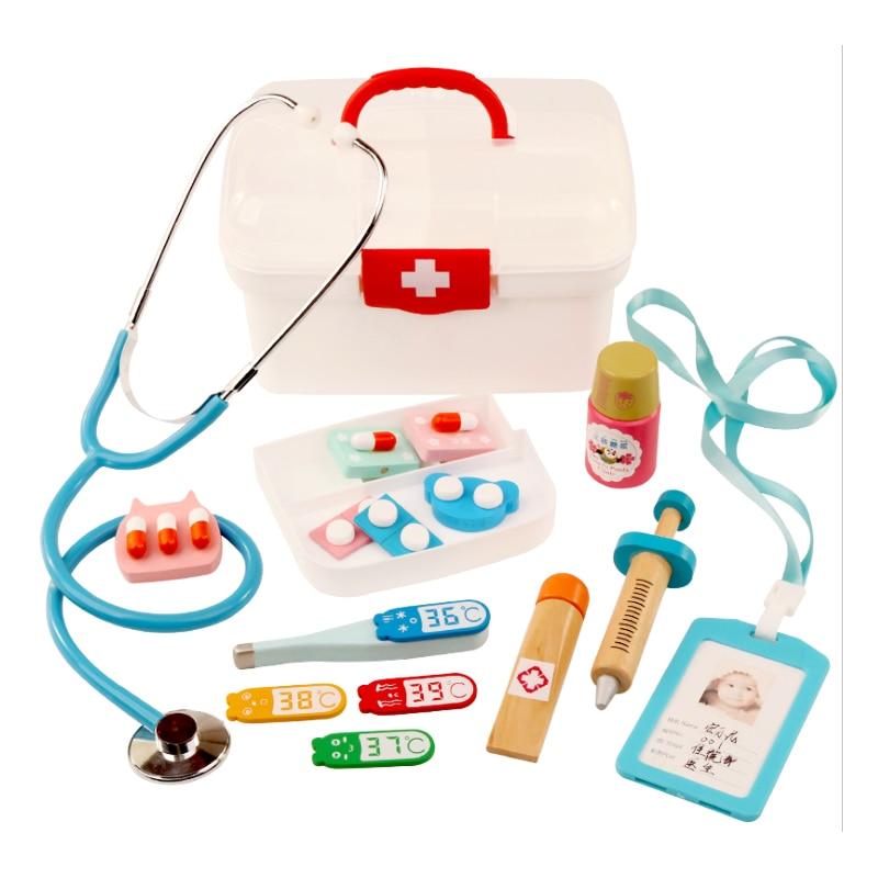 Children Pretend Play Doctor Toys Kids Wooden Medical Kit Simulation Medicine Chest Set for Kids Interest Development Kits