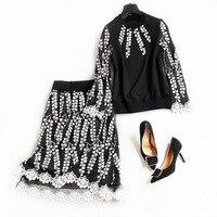 Women Fashion Elegant Floral Patterns Embroidery Mesh Patchwork Skirt A Line Knee Length Black Skirts Sweashirttop