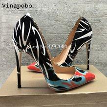24f659b2 Zapatos de mujer de moda de hojas de impresión de señoras Sexy Stiletto  mujer Floral zapatos de las mujeres zapatos de tacón alt.