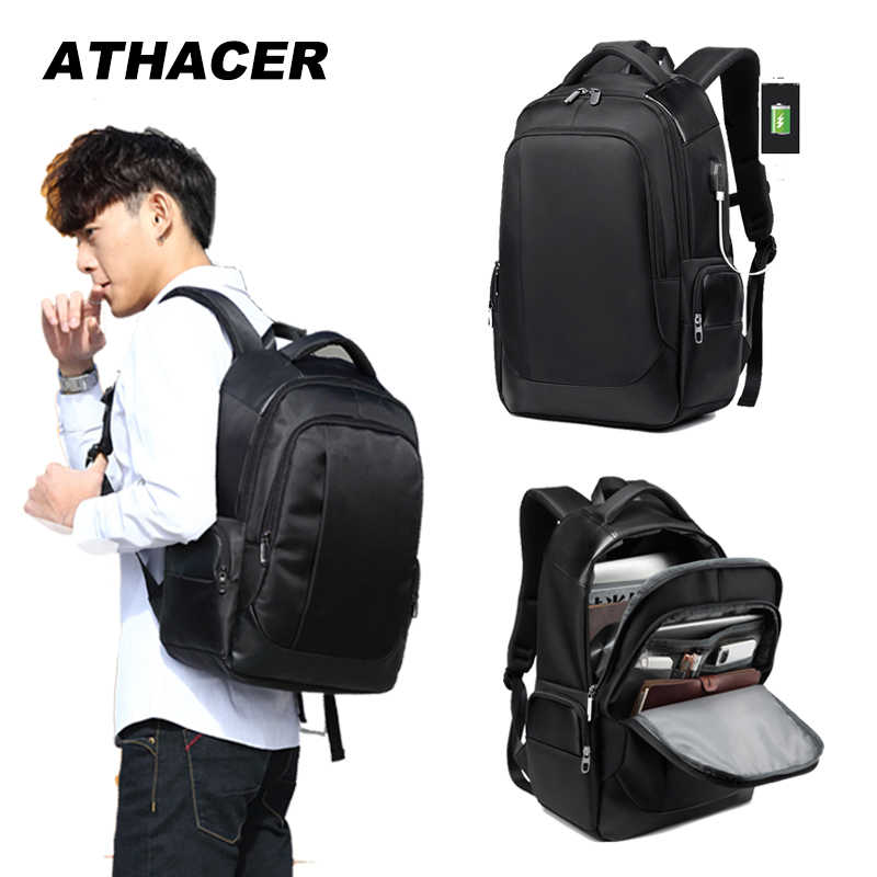 Athacer 15.6'' Laptop Backpack External USB Charge Computer Backpacks Anti theft Waterproof Business Travel Bags for Men Women
