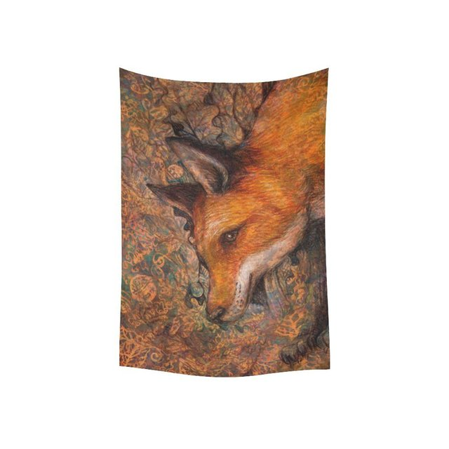 Warm Tour Animal Wall Art Home Decor Colorful Painting Red Fox Portrait Tapestry Wall Hanging