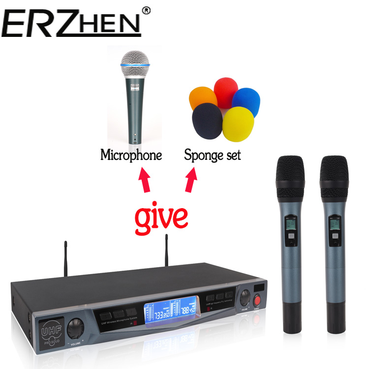 ERZHEN U4900 UHF 2 Handheld Wireless Microphone Dynamic Capsule Family Party Balanced Unbalanced Output Wireless Microphone