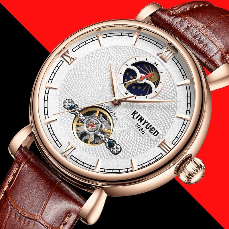 Kinyued nuevo relojes mecánicos hombres automático fase lunar mano impermeable reloj Tourbillon moda masculina correa de cuero reloj