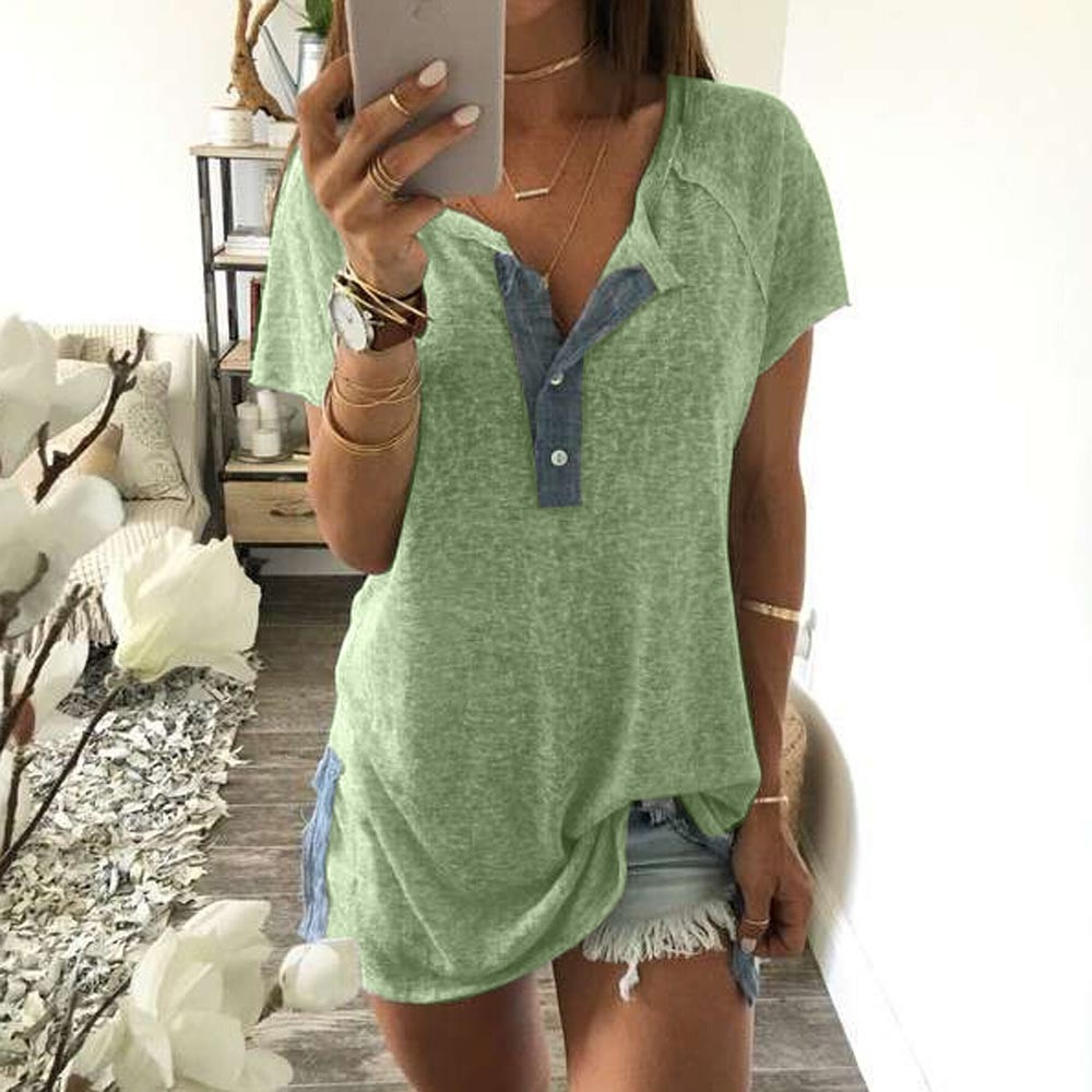 2018 Women Blouses Summer Shirts Sundress Tops Loose Patchwork Casual Button Short Sleeve Blouse Shirt Tops