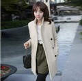 2017 nueva edición de han de las mujeres abrigo de paño de lana de invierno cálido abrigo de doble botonadura blanca gruesa llena larga capa X6 6
