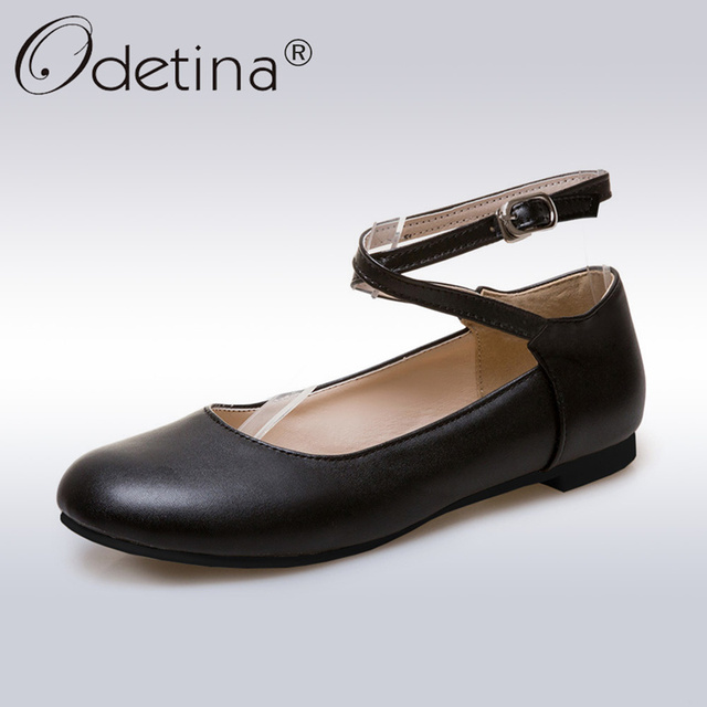 bc0094a9eb99 Odetina 2018 New Fashion Ladies Summer Shoes Ballet Flats Women Buckle  Ankle Strap Mary Jane Flats Ballerina Flat Shoes Big Size