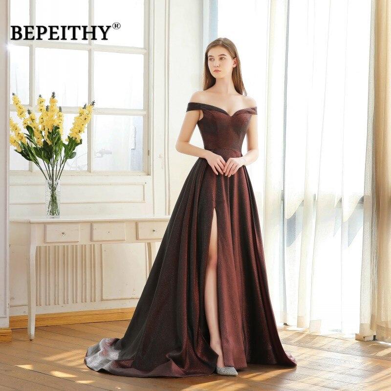 BEPEITHY Abendkleider Off The Shoulder Long Prom Dresses High Slit Red Glitter Reflective Evening Dresses 2019