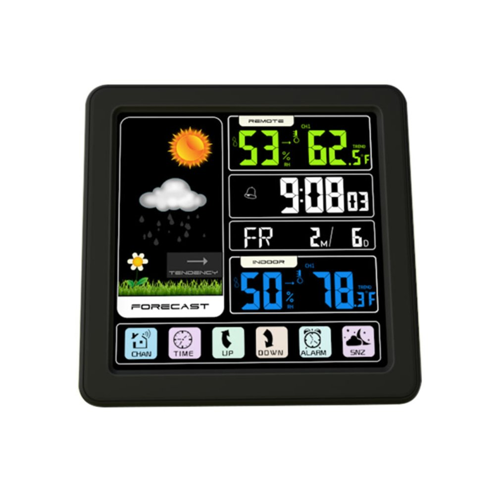 TS-3310-BK Full Touchs Screen Wireless Weather Station Multi-function Color Screen Indoor and Outdoor Temperature Drop ShippingTS-3310-BK Full Touchs Screen Wireless Weather Station Multi-function Color Screen Indoor and Outdoor Temperature Drop Shipping