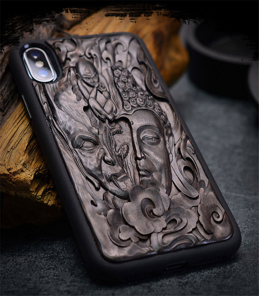 Case For iPhone XR X XS Max ebony Black wood 3D Stereo Emboss Carved Wooden TPU Back Cover Case For iPhone 6 6s 7 8 plus (4)
