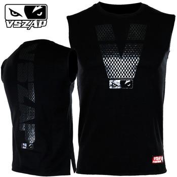 VSZAP Sleeveless Vest Casual Cotton Streetwear MMA T-shirt Muay Thai Men Tshirt O-Neck Print Absorb Sweat Men T Shirt Reflective