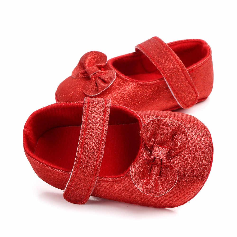 Niemowlę Baby Girl buty noworodka miękkie antypoślizgowe dno księżniczka mokasyny Bling łuki sukienka na imprezę maluch 1 roku życia dla do chodzenia