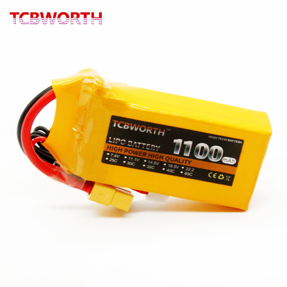 2PCS 2S 7.4V 1100mAh 30C Max 60C RC LiPo battery For RC Helicopter Airplane Car Boat Quadrotor Li-ion battery TCBWORTH