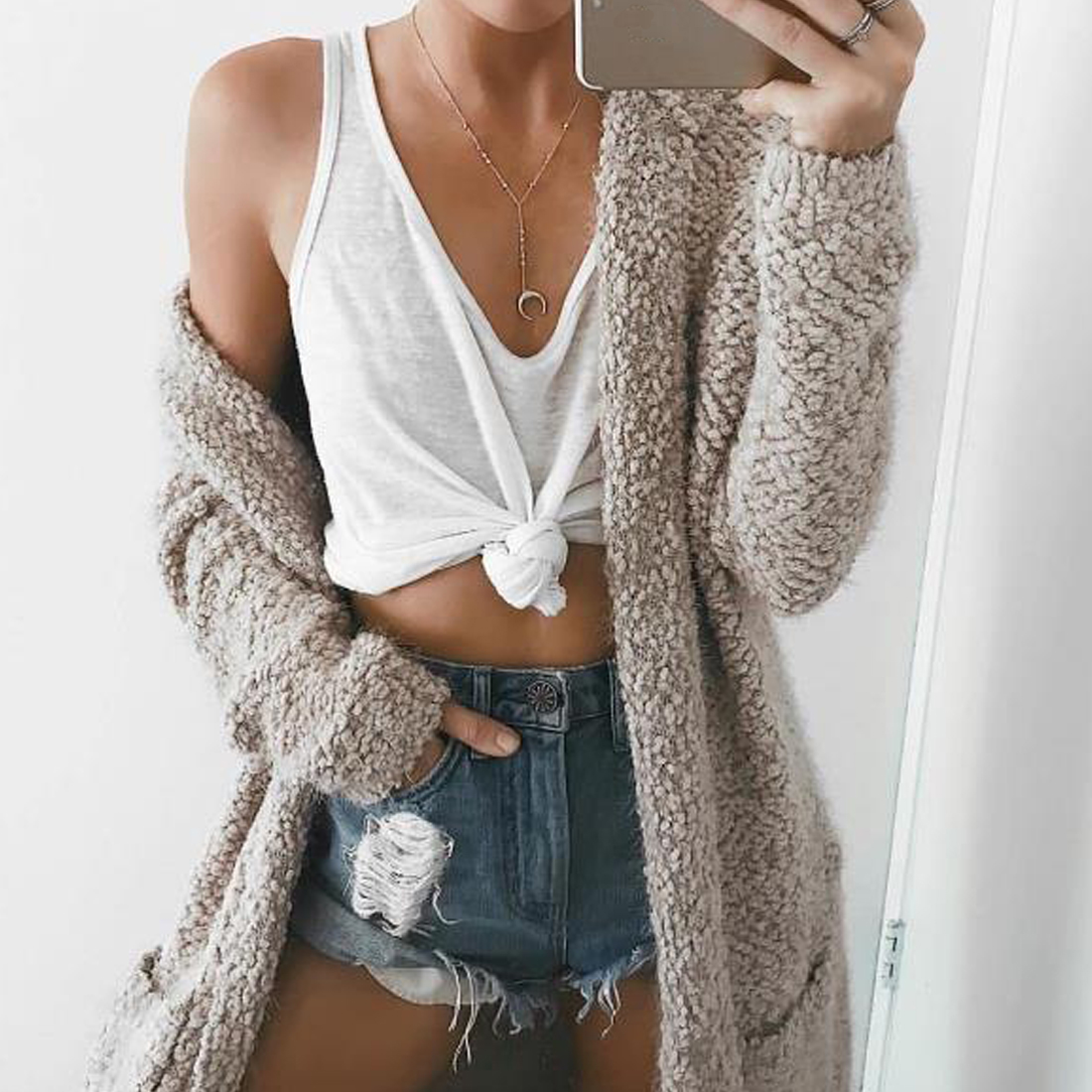YJSFG HOUSE Hot New Women Long Cardigan Sweater Long Solid Sweater Sleeve Knitted Outwear Thick Autumn Winter Jacket Coat Tops