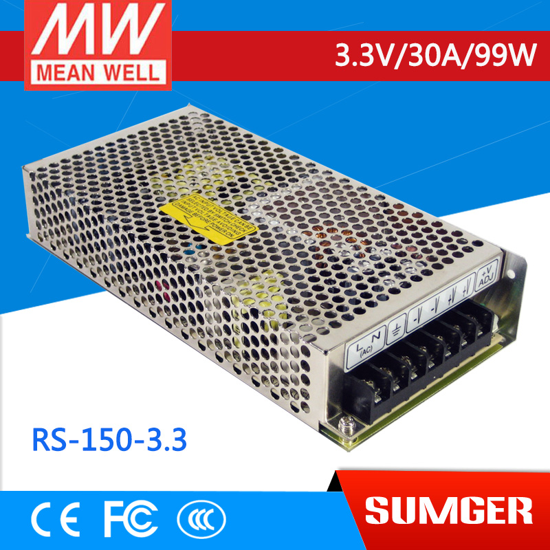 ФОТО [Freeshiping 1Pcs] MEAN WELL original RS-150-3.3 3.3V 30A meanwell RS-150 3.3V 99W Single Output Switching Power Supply