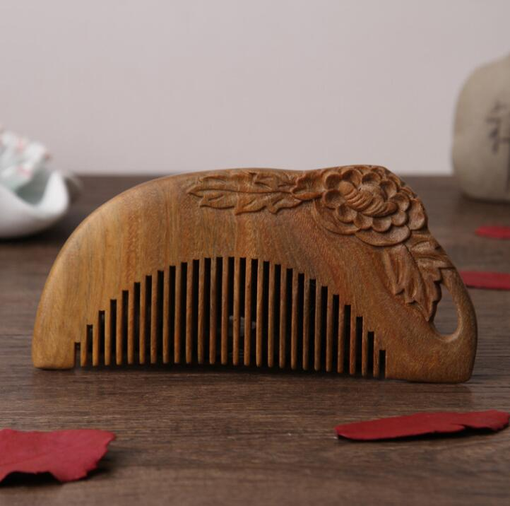 Chinese Green Sandalwood Carved Peony Flower Modeling Antistatic Healthcare Solid Wood Comb Creative Comb
