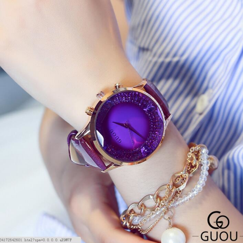 GUOU Luxury Diamond Wrist Watch Women Watches Genuine Leather Ladies Watch Women's Watches relogio feminino reloj mujer montre guou ladies watch fashion color stone glitter women watches luxury genuine leather diamond watch reloj mujer relogio feminino