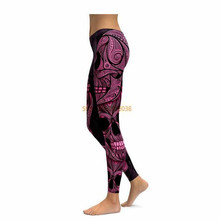 PINK ORNAMENTAL SKULL LEGGINGS Compression 3D Print 2017 New Women Pants Fashion Straight Elastic Waistband