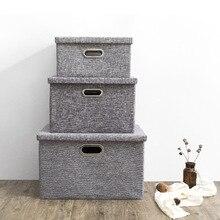 Cotton and Linen Foldable Clothing Organizer Large Storage Bag Finishing Box Household Wardrobe Cloth Bra Drawer