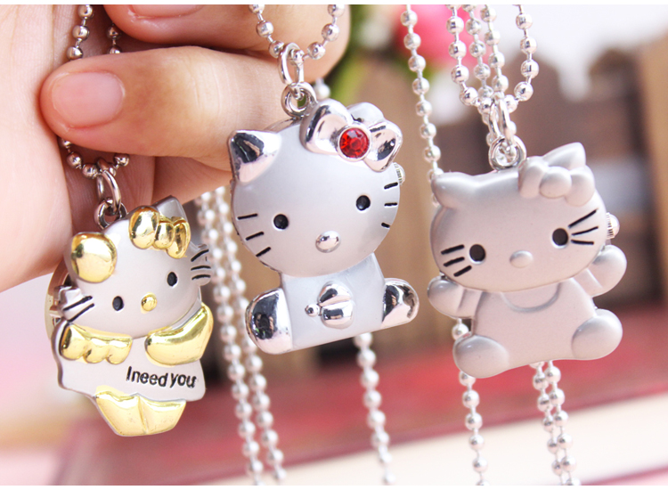 New Hello Kitty Cartoon Children Pocket Watch Fashion delicate Pendants Girl necklace Pocket Watch Quartz keychain pocket watch hot sale fashion cute hello kitty watches cartoon watch children girls woman crystal dress quartz wristwatch mix color