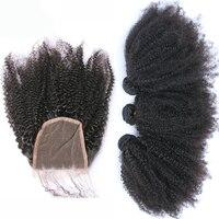 Монгольский афро кудрявый вьющиеся Человеческие Волосы Связки с Синтетическое закрытие волос Реми 3 Человеческие волосы Weave Связки бесплат