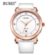 Burei mujeres lente de zafiro relojes top nueva marca de moda femenina reloj de la pu correa de cuero impermeable reloj de acero de oro oferta especial