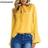 CINQ DIAMANTS Primavera Autunno Casual Camicetta Rosa Bianco Nero Giallo Ufficio Donna Shirt Manica Lunga Top Chemise Femme