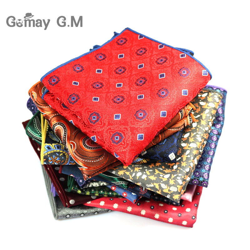 Popular Striped Dot Men Handkerchiefs Brand Classic Polyester Pocket Square Hanky Fashion Formal Business Suits Chest Towel Gift
