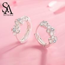 SA SILVERAGE New S925 Sterling Silver Flower Stud Earrings Woman 925 Zircon 2019 Simple and Joker Female Earring