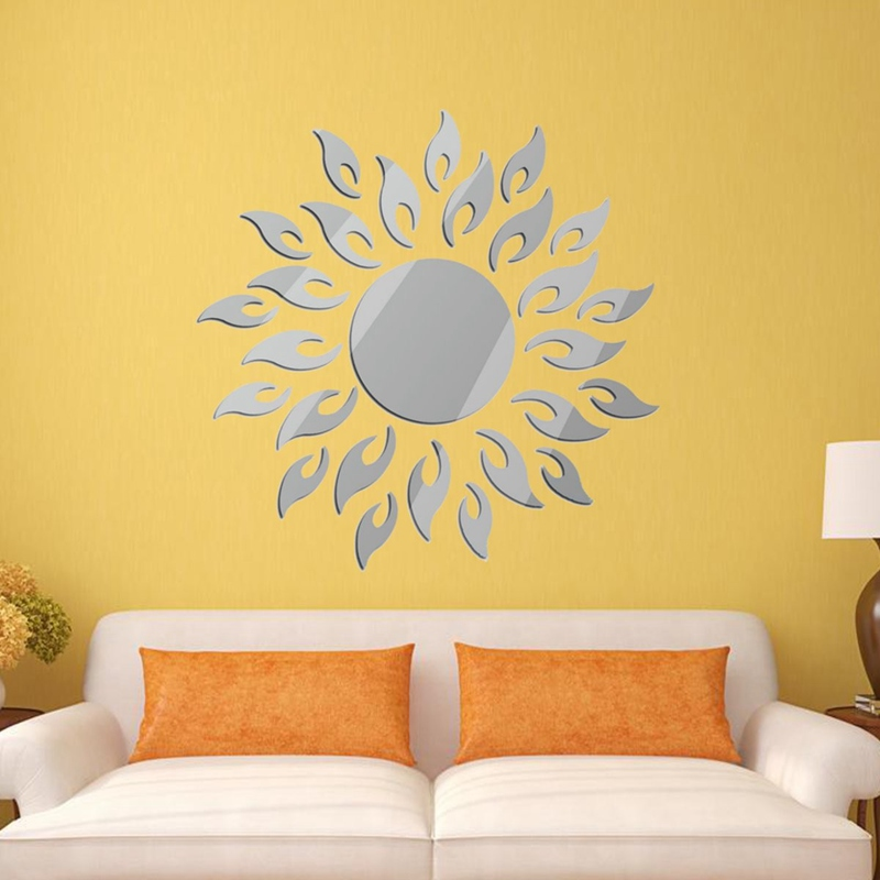 New Arrival DIY Removable 3D Mirror Style Sun Decal Wall Sticker ...