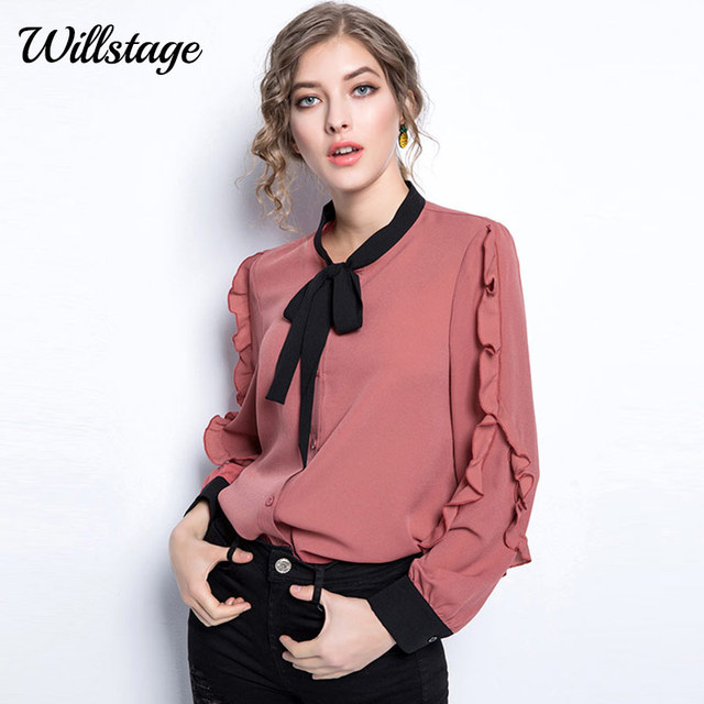 7cc11db86a9 Willstage Oversize Blouse Women 5XL plus size Shirts Ruffles Long sleeve  bow Pink Tops Chiffon Office ladies work wear Autumn