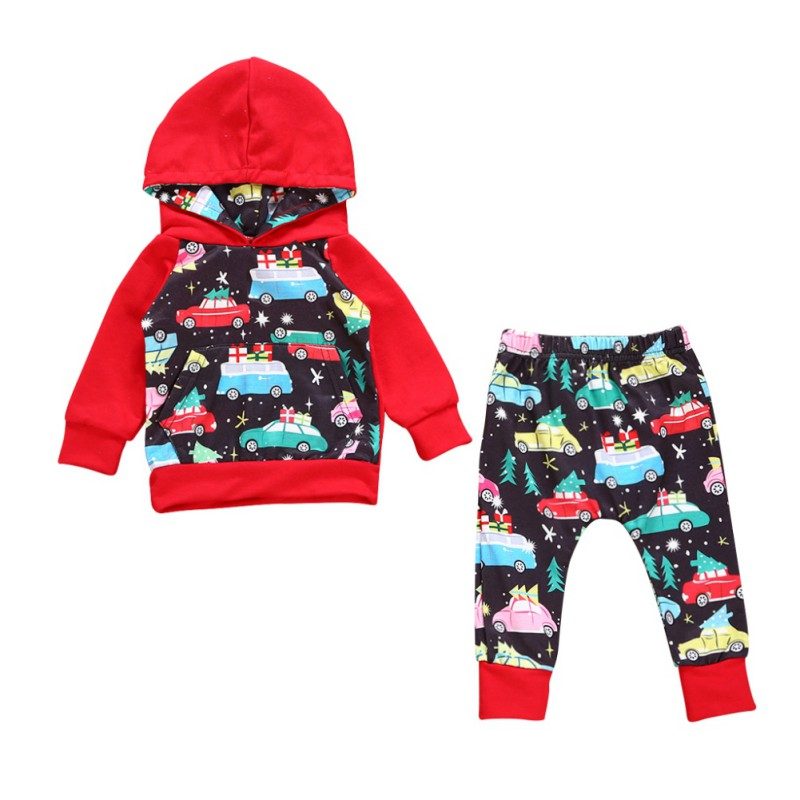 2PCS Baby Boys Girls Casual Clothing Set Christmas Tree Printed Long Sleeve Hooded Coat Shirts Tops + Pants Infant Clothes