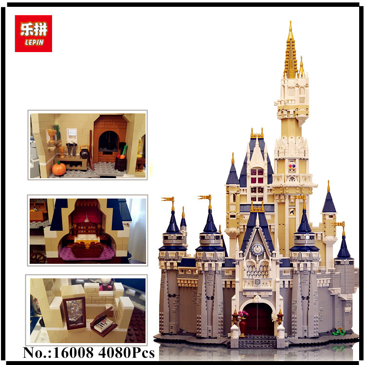 IN STOCK LEPIN 16008 The Cinderella Princess Castle City 4080pcs Model Building Block Kid Toy Gift Compatible 71040 new lepin 16008 cinderella princess castle city model building block kid educational toys for children gift compatible 71040