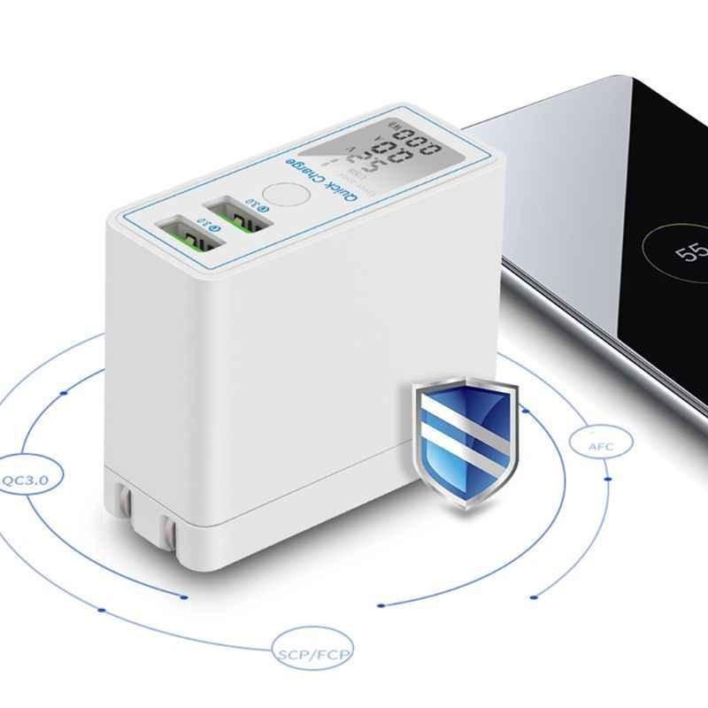 Wyświetlacz LED podwójna szybka ładowarka usb Travel adapter do ładowania dla iPhone Samsung smartfony xiaomi US Plug