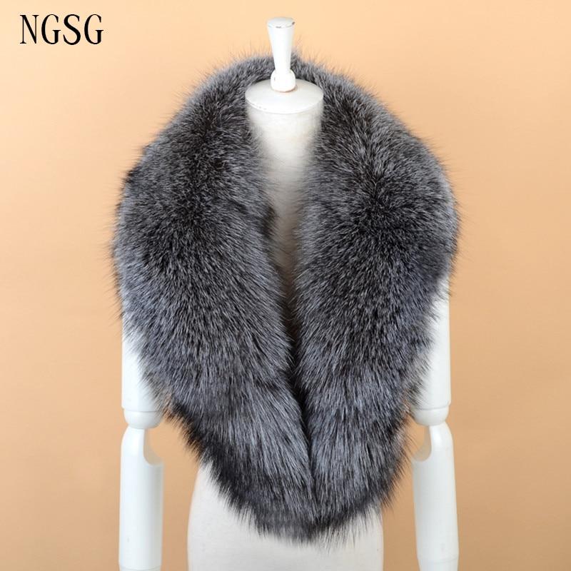 NGSG Gray Silver Fox Fur Collar Scarf 100CM Fluffy Jacket Fur Collar 80CM Fox Fur Scarves Shawl Genuine Fur Hooded Collar SF1306