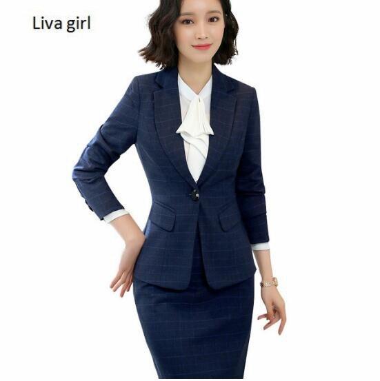 2018 nuevas mujeres trajes de falda Conjunto elegante negocio formal manga  larga hem negro señoras de c852739822b7