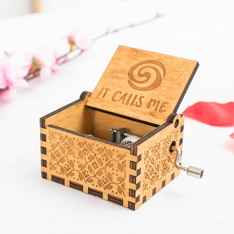 ใหม่ Creative วันเกิดคริสต์มาสของขวัญของเล่นเด็กเล่นสาย ME แกะสลักไม้มือ Crank Music Box ภาพยนตร์ Moana theme