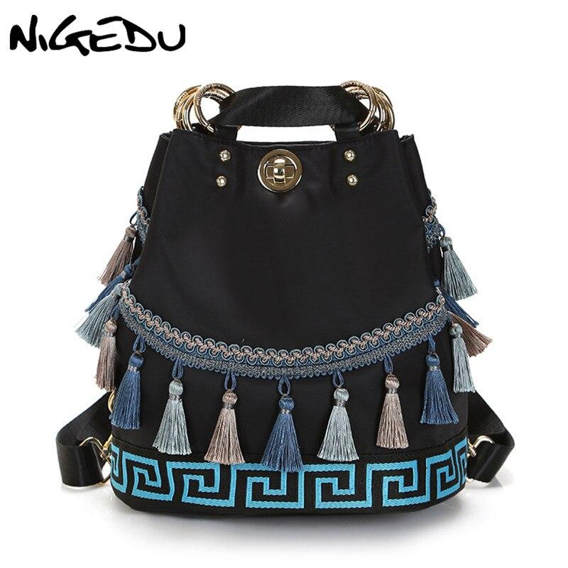 Retro Tassel Women Backpack Panelled Bucket Shoulder Bag Female Schoolbags Backpacks Ethnic Style Nylon Travel Bag Mochila 2018
