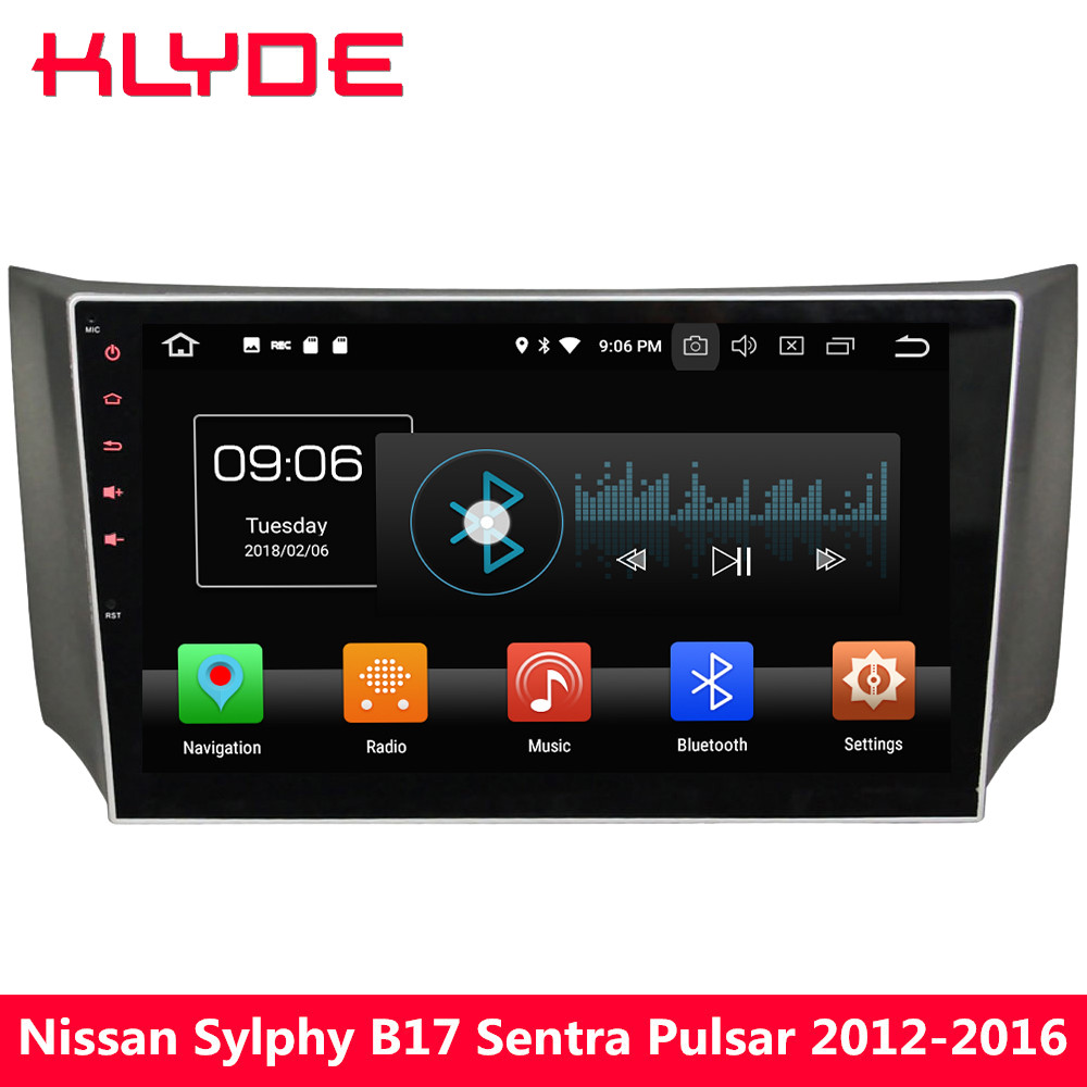 KLYDE 10 IPS 4G Android 8 Octa Core 4GB+32GB Car DVD Player Radio For Nissan Sylphy B17 Sentra Pulsar 2012 2013 2014 2015 2016