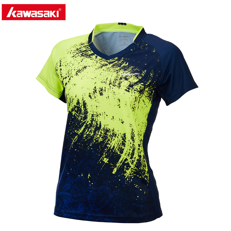 Kawasaki Men Women Couple T-Shirt Anti-sweat Polyester Tennis T Shirt Short Sleeve V-Neck T-Shirts for Sports Fitness ST-T2021 slimming v neck rivet embellished short sleeve t shirt for men