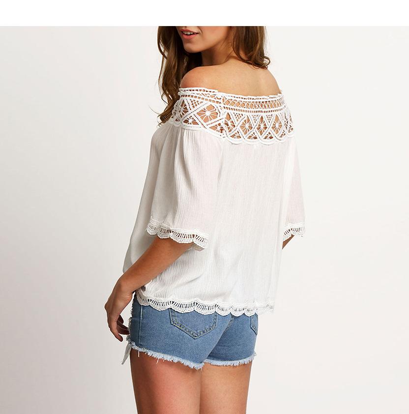 Off Shoulder Sexy Women Blouses White Lace Patchwork 2017 Summer New Arrival Slash Neck Ladies Chiffon Shirts Plus Size Tops 2XL 17