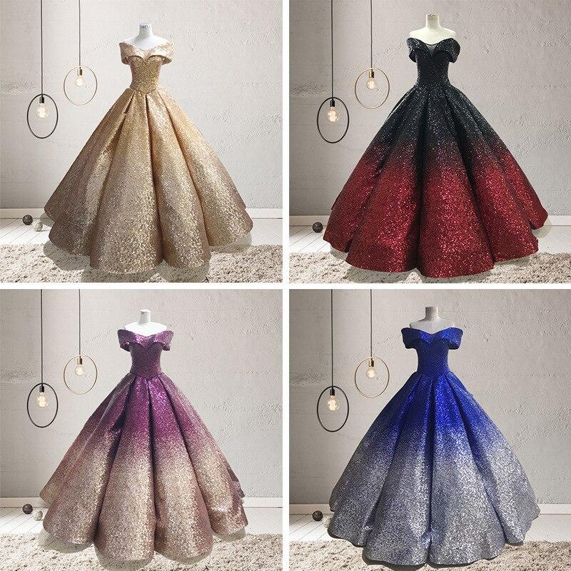 Argent brillant Ombre or Sequin Quinceanera robes pour 15 ans mascarade robes de bal épaule dénudée col en v douce 16 robe 2019 - 5