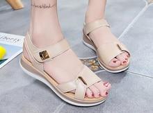 Liren 2019 Summer Fashion Casual Lady Sandals Hook & Loop Flat Heels Round Open Toe Comfortable Breathable Women Shoes