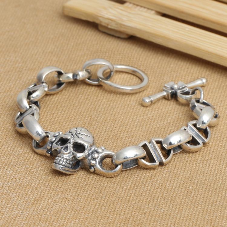 Handmade S925 silver skull bracelet vintage thai silver skull punk bracelet Thailand Sterling Silver Man bracelet jewelry gift thailand imports skull blood new skeleton silver ring