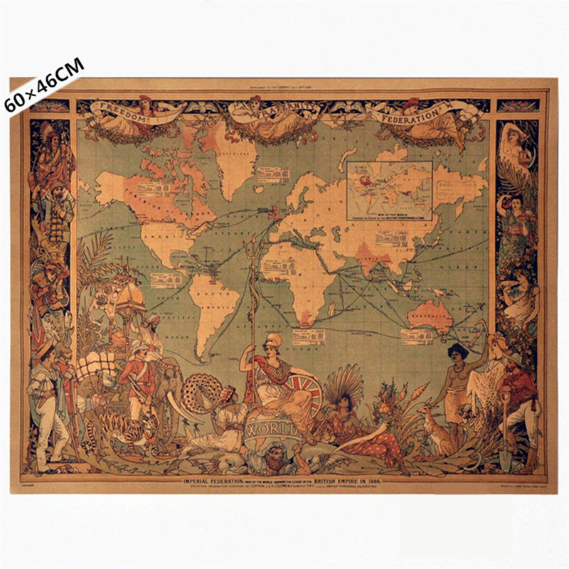 Vintage 1886 the federal territories of british empire colony old vintage 1886 the federal territories of british empire colony old map poster retro kraft paper home decor wall sticker 60x46cm in wall stickers from home gumiabroncs Choice Image