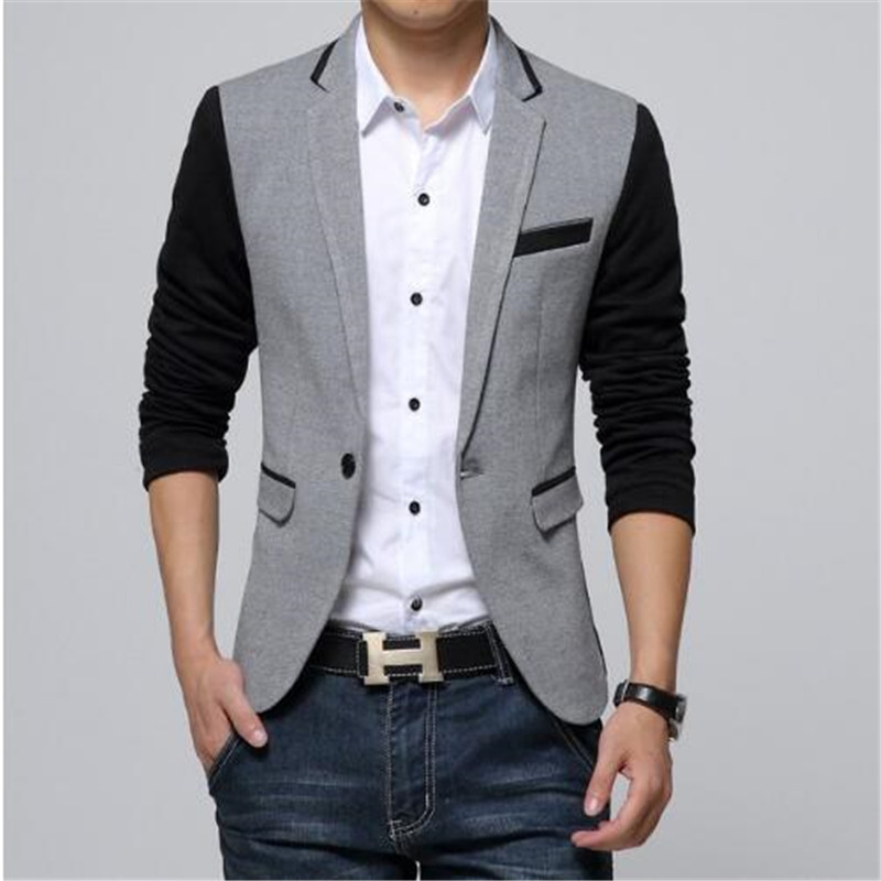 New Slim Fit Casual jacket Cotton Men Blazer Jacket Single Button Gray Mens Suit Jacket  ...