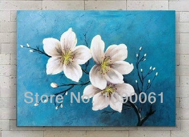 Hand painted modern abstract plum blossom white flower oil painting turquoise canvas wall picture art with no framed in painting calligraphy from hand painted modern abstract plum blossom white flower oil painting turquoise canvas wall picture art with no