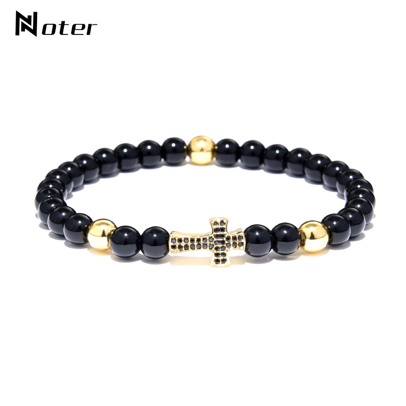 Noter Small Cross Bracelet Gold Silver Color Elastic Small Beads Cruz Braclets For Men Yoga Meditation Cruz Jewelry Accessories